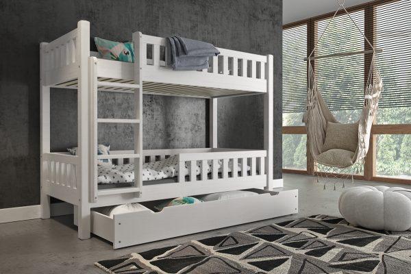 poschodová posteľ matúš v bielej farbe